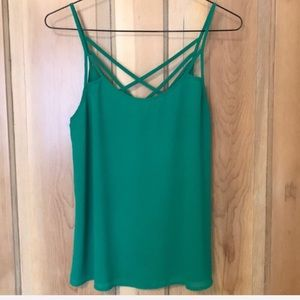 Bright Green Tank with Criss-Cross Back Detail